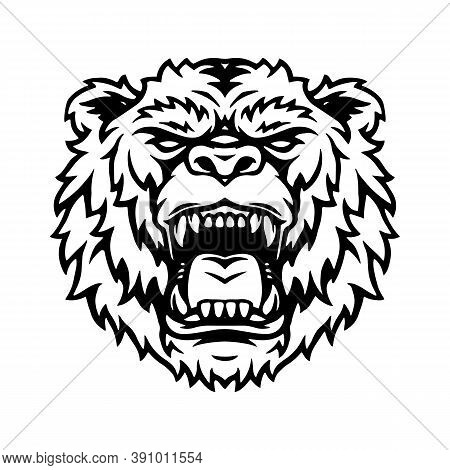 Ferocious Powerful Grizzly Head Tattoo In Vintage Monochrome Style Isolated Vector Illustration