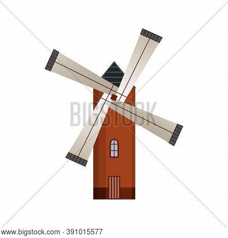 Traditional Ancient European Windmill Building. Old Rural Windmill, Village Farm Building. Alternati
