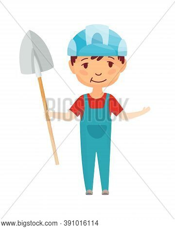 Kid Builder. Little Worker In Helmet. Children With Construction Shovel Making Job. Working Builder