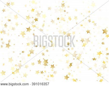 Magic Gold Sparkle Texture Vector Star Background. Cosmic Gold Falling Magic Stars On White Backgrou