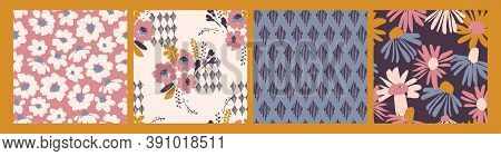 Floral Seamless Patterns. Vector Design For Paper, Cover, Fabric, Interior Decor And Other.