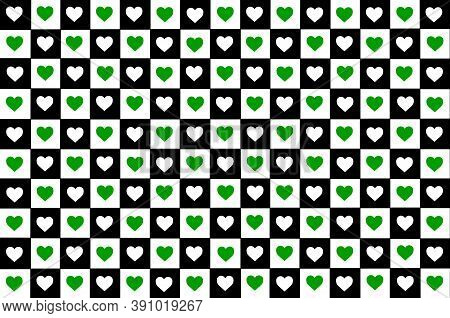 Black White Green Checkered Background With Hearts. Checkered Texture. Space For Graphic Design And