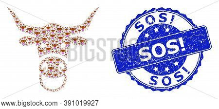 Sos Exclamation Grunge Round Stamp Seal And Vector Recursion Collage Bull Head. Blue Seal Contains S