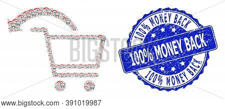 100 Percent Money Back Corroded Round Stamp Seal And Vector Recursive Collage Cancel Shopping Order.