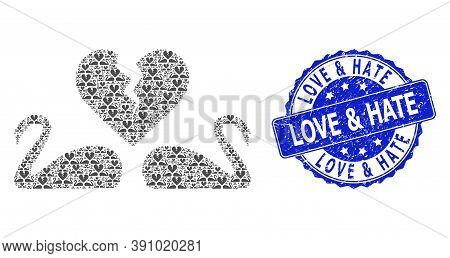 Love And Hate Corroded Round Seal And Vector Recursion Collage Divorce Swans. Blue Stamp Seal Contai
