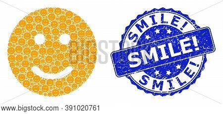 Smile Exclamation Unclean Round Seal Print And Vector Recursion Mosaic Glad Smiley. Blue Stamp Inclu