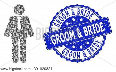 Groom And Bride Rubber Round Stamp Seal And Vector Recursion Mosaic Groom. Blue Stamp Seal Contains