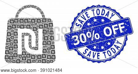 Save Today 30 Percent Off Textured Round Seal Print And Vector Recursion Collage Shekel Shopping Bag