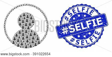 Hashtag Selfie Grunge Round Stamp Seal And Vector Recursive Mosaic User Portrait. Blue Seal Contains