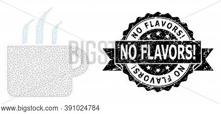 No Flavors Exclamation Textured Seal Imitation And Vector Aroma Cup Mesh Structure. Black Stamp Seal