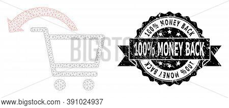 100 Percent Money Back Scratched Seal Imitation And Vector Cancel Shopping Order Mesh Model. Black S