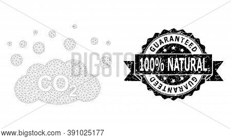 Guaranteed 100 Percent Natural Dirty Stamp And Vector Co2 Gas Emission Mesh Model. Black Stamp Conta