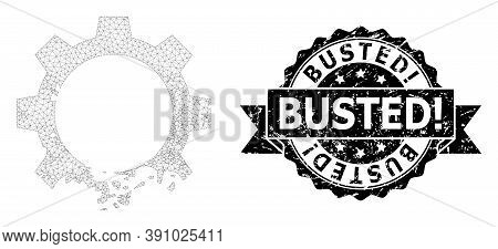 Busted Exclamation Dirty Seal Print And Vector Damaged Gear Mesh Structure. Black Stamp Seal Has Bus