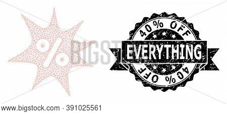 40 Percent Off Everything Unclean Stamp Seal And Vector Discount Boom Mesh Model. Black Stamp Seal I