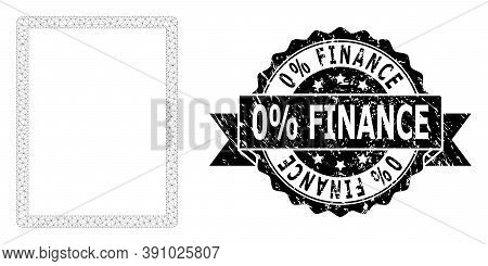 0 Percent Finance Dirty Stamp Seal And Vector Empty Page Mesh Model. Black Stamp Includes 0 Percent
