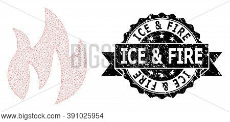 Ice And Fire Dirty Seal Imitation And Vector Fire Mesh Structure. Black Stamp Seal Includes Ice And