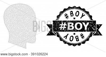 Hashtag Boy Unclean Stamp Seal And Vector Gentleman Profile Mesh Model. Black Stamp Seal Includes Ha