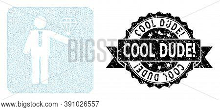 Cool Dude Exclamation Rubber Seal Print And Vector Groom Diamond Mesh Model. Black Seal Has Cool Dud