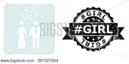 Hashtag Girl Scratched Stamp Seal And Vector Marriage Persons Mesh Model. Black Stamp Seal Includes