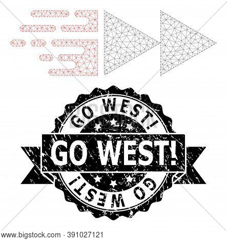 Go West Exclamation Rubber Seal Imitation And Vector Move Mesh Structure. Black Stamp Seal Contains