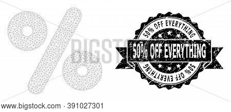 50 Percent Off Everything Corroded Stamp Seal And Vector Percent Mesh Model. Black Seal Contains 50