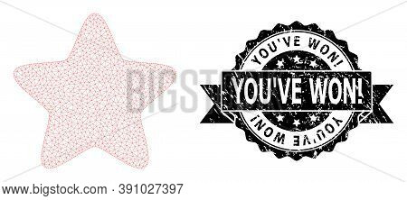 You Ve Won Exclamation Textured Stamp And Vector Red Star Mesh Model. Black Stamp Seal Contains You