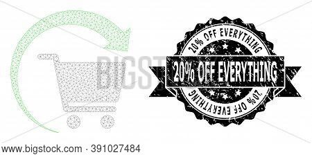 20 Percent Off Everything Grunge Seal Imitation And Vector Repeat Shopping Order Mesh Model. Black S