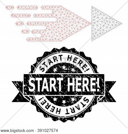 Start Here Exclamation Grunge Stamp And Vector Rewind Forward Mesh Model. Black Stamp Seal Contains