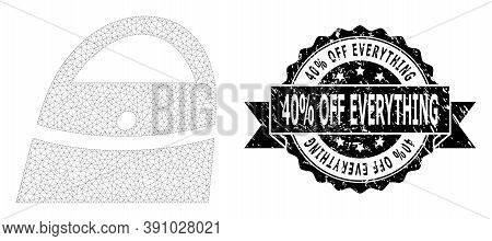 40 Percent Off Everything Grunge Seal Print And Vector Shopping Bag Mesh Structure. Black Seal Inclu