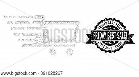 Friday Best Sale Exclamation Rubber Stamp Seal And Vector Shopping Cart Mesh Model. Black Seal Has F