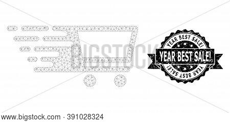 Year Best Sale Exclamation Corroded Stamp And Vector Shopping Cart Mesh Model. Black Stamp Has Year
