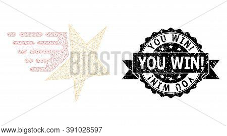 You Win Exclamation Rubber Seal Print And Vector Star Mesh Model. Black Seal Contains You Win Exclam
