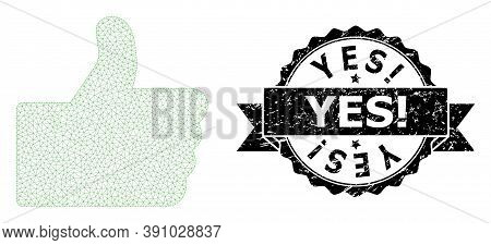 Yes Exclamation Scratched Stamp And Vector Thumb Up Mesh Model. Black Stamp Seal Contains Yes Exclam