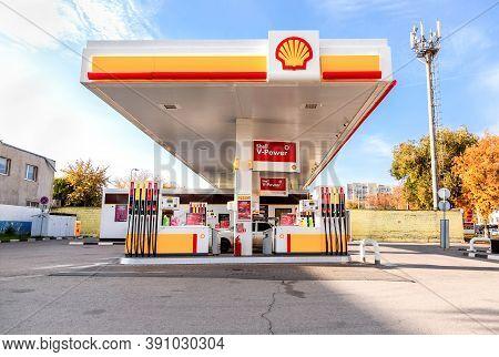 Samara, Russia - October 8, 2020: Shell Gas Station In Sunny Day. Shell V-power Petrol Station. Roya