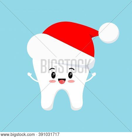 Chistmas Tooth In Red Santa Claus Hat Icon Isolated On Background. Dental Holiday Sign - White Baby