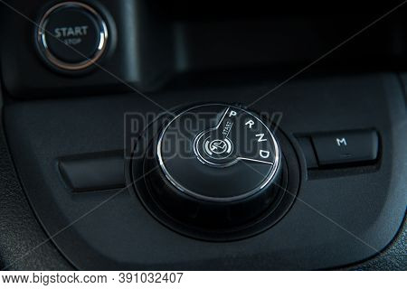 Button To Shift The Automatic Transmission Of The Car At A Shallow Depth Of Field
