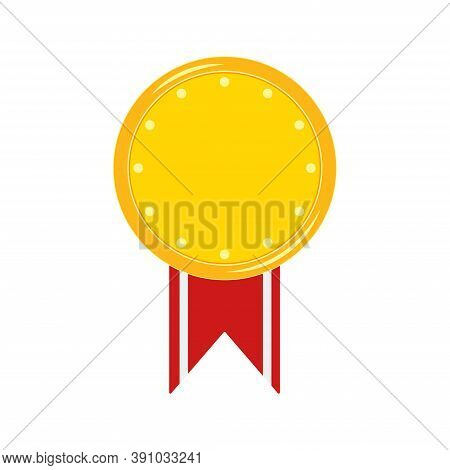 Gold Medal With Stripped Red Ribbon Badge Isolated On White Background. Guarantee Mark Icon With Dot