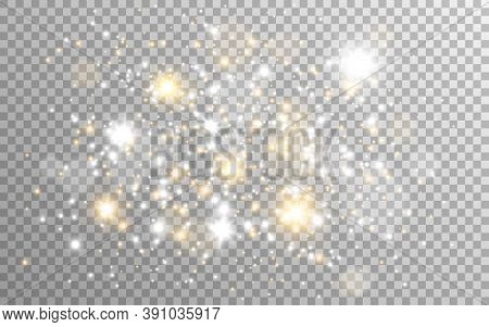Gold And Silver Glitter On Transparent Background. White Magic Lights And Stardust. Golden Particles