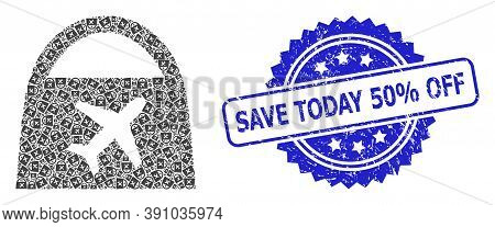Save Today 50 Percent Off Scratched Seal Print And Vector Recursive Mosaic Airport Shopping. Blue St