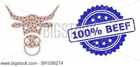 100 Percent Beef Grunge Stamp And Vector Fractal Mosaic Bull Head. Blue Stamp Has 100 Percent Beef C