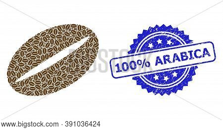 100 Percent Arabica Textured Stamp Seal And Vector Recursion Mosaic Coffee Bean. Blue Stamp Seal Has