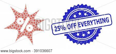 25 Percent Off Everything Rubber Stamp Seal And Vector Recursion Mosaic Discount Boom. Blue Stamp Se