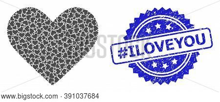 Hashtag Iloveyou Unclean Stamp Seal And Vector Fractal Collage Love Heart. Blue Stamp Seal Contains