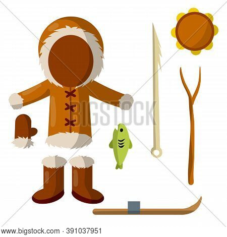 Set Of Eskimo And Aleutian Objects. Warm Clothing Made Of Leather, Boots, Glove, Tambourine, Harpoon