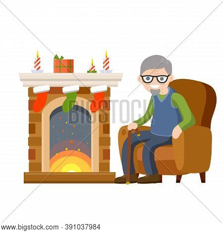 Old Man Sits In Chair By Fireplace. Grandpa In Nice Cozy House. Room Furniture And Grandfather. Wint