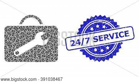 24-7 Service Grunge Seal Print And Vector Recursive Mosaic Service Toolkit. Blue Seal Has 24-7 Servi