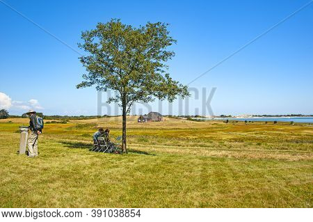 Ipswich, Usa - September 9, 2017: Choate (hog) Island, The Largest Island In The Essex River Estuary