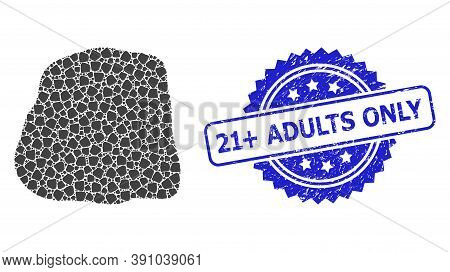 21 Plus Adults Only Scratched Stamp Seal And Vector Recursion Mosaic Stone. Blue Stamp Has 21 Plus A