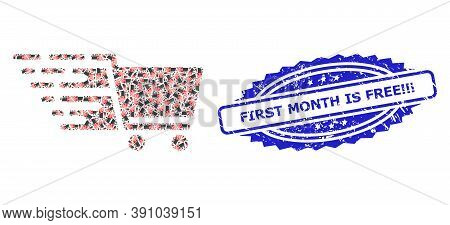 First Month Is Free Exclamation Exclamation Exclamation Unclean Stamp And Vector Recursive Mosaic Su