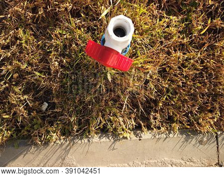 Plastic Pvc Pipe With Red Valve Is Set In Dry Grass Near Curbstone, Water Shortage, Drought